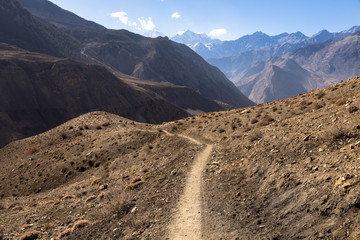 mountain trail in the Himalayas, Mustang Nepal