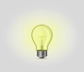 Realistic yellow incandescent light bulb, lamp