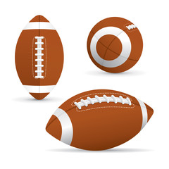 Vector of American football in different view isolated on white background.