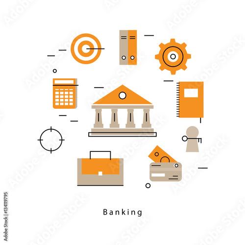 """Online payment flat line business vector illustration ..."