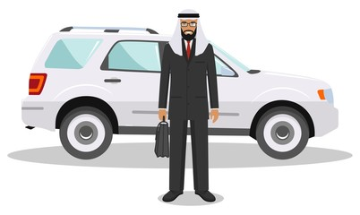Arab businessman standing near the car on white background in flat style. Business concept. Detailed illustration of automobile and saudi arabic man. Flat design people character. Vector illustration.
