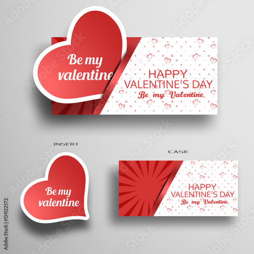 Vector set of greeting card for valentines day insert in case with vector set of greeting card for valentines day insert in case with light pattern from hearts m4hsunfo