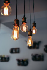 Edison bulbs light design, modern loft interior