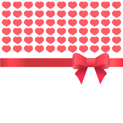 Template for greeting card with hearts for Valentine's day