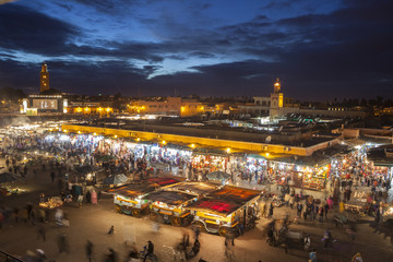 Place Djemaa el-Fna in Marrakech, Morocco, at twilight