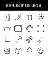 Set of graphic design icons in modern thin line style.