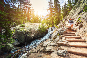 Stone stairs along mountain river on tourist route