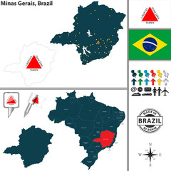 Map of Minas Gerais, Brazil