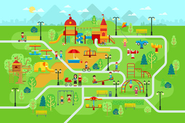 Children playground in the park with people and attractions for kids vector flat illustration for infographic design. Children play on the playground. Mother, father, kids are walking in the park