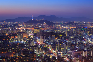 Seoul city and Downtown skyline at Night, South Korea