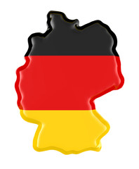 3D Illustration Germany Map and Flag colors