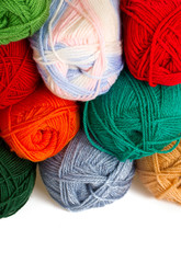 colorful wool yarn rolls