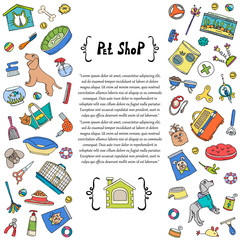 Сover with hand drawn colored goods for pet shop. Vector background for use in design
