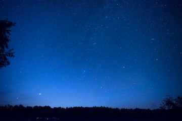Beautiful blue night sky with many stars