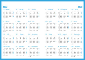 Calendar for 2018 and 2019 year on white background. Vector design print template. Week starts Monday. Stationery design