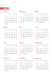 Calendar for 2017 year with week numbers on white background. Vector design print template. Week starts Monday. Stationery design