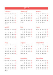 Calendar for 2017 year on white background. Vector design print template. Week starts Monday. Stationery design