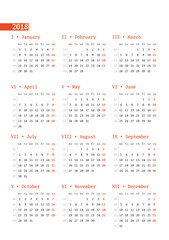 Calendar for 2018 year with week numbers on white background. Vector design print template. Week starts Monday. Stationery design