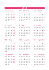 Calendar for 2018 year on white background. Vector design print template. Week starts Monday. Stationery design