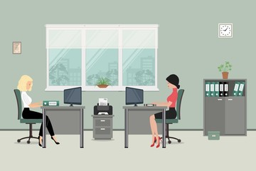 Web banner of two office workers. The young women are an employees at work. There is furniture in gray color on a windows background in the picture. Vector flat illustration
