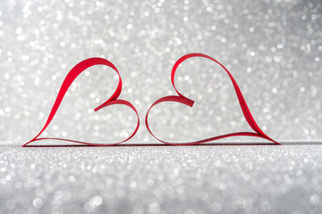 Valentine's Day Hearts silver background ribbon
