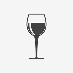 Glass of wine monochrome icon. Goblet vector illustration.