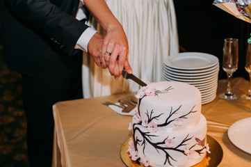Stylish bride and groom in the restaurant cutting cake