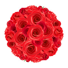 Vector red roses bouquet isolated on a white background.