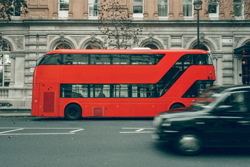 Taxi cab in motion, London red bus in station, special for canvas
