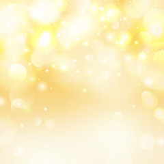 Vector bokeh yellow background.Universal festive defocused white lights. Abstract blurred illustration.