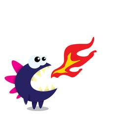 Vector cartoon funny dragon. Cartoon Dinosaur.