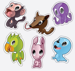 Cute cartoon vector badges with animals.