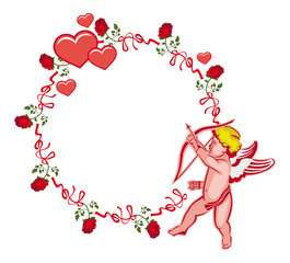 Elegant frame with Cupid, roses and hearts. Vector clip art.