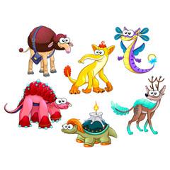 Group of funny strange animals