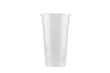 Empty plastic cup isolated on white background - clipping paths.