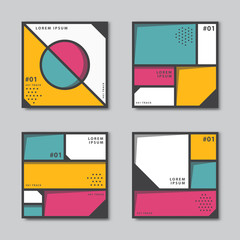 Set of abstract backgrounds in neoplasticism style. Flat circles, square, dots vector pattern. Card, cover, tag, poster, flyer banner design..