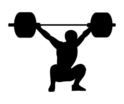 Weightlifting snatch. Silhouette of a man.