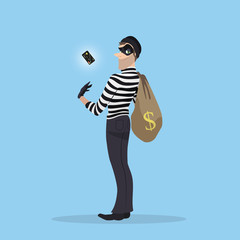 A thief stole a credit card with money. Robber with a bag of stolen goods.
