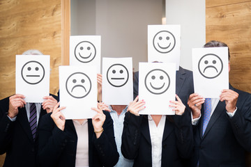 Business Team Feeling Sad, Happy Or Neutral