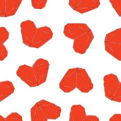 Cute Valentines day Illustration. Wedding seamless pattern with origami hearts. Background in vector