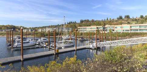 Panoramic view of a marina and residential buildings Vancouver W