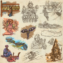 Nepal - Pictures of life. Travel. Full sized hand drawings, originals on old paper.