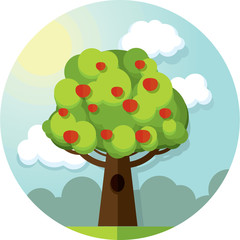 Round vector picture tree apples apple  among the clouds and sun on blue sky