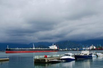Motor boats and cargo ships at Batumi sea port,Georgia