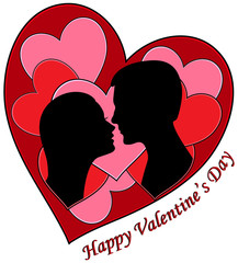 Vector Illustration silhouettes of a young couple about to kiss in front of a background of red hearts.