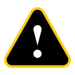 Black triangle exclamation mark icon warning sign attention butt