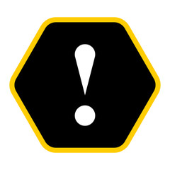 Black hexagon exclamation mark icon warning sign attention butto