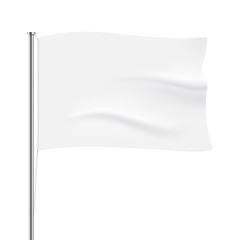 White flag template. Clean horizontal waving flag, isolated on background. Vector flag mockup.