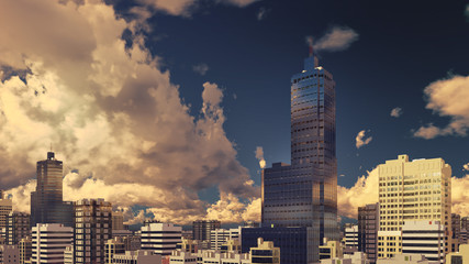 Abstract modern high rise office buildings skyscrapers at city downtown against evening cloudy sky background. 3D illustration.