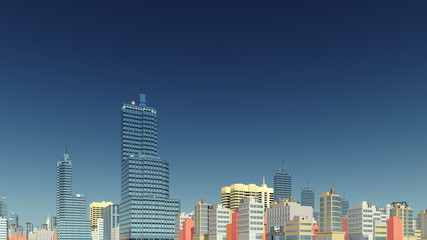 Abstract modern city skyline high rise buildings at downtown against clear blue sky background. 3D illustration.